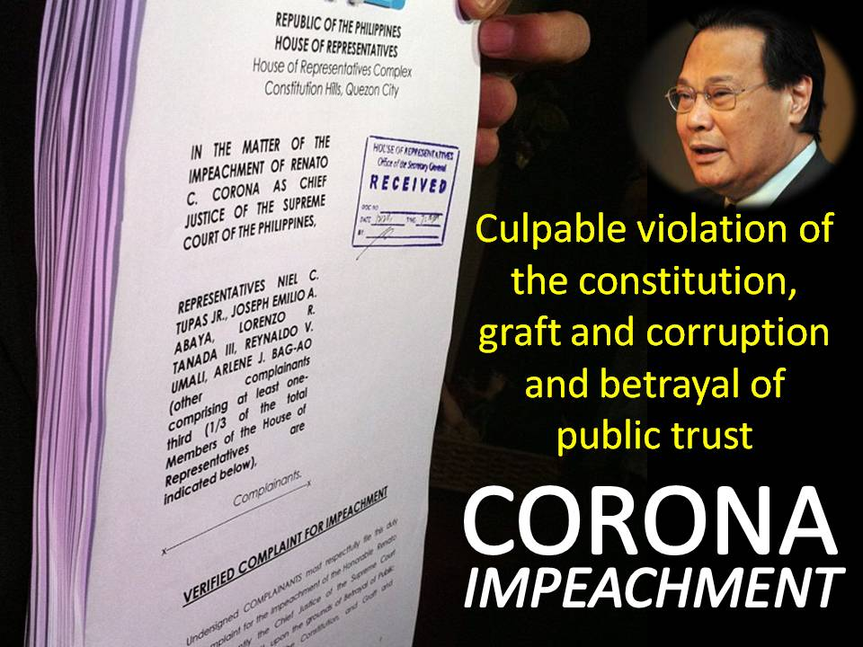 """corona s impeachment """"first, the saln is a simple document that, in its simplicity, could knock  while  enrile, as presiding judge in the corona impeachment trial, was."""