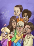 big_bang_caricatured_cast_by_coffeeme-d4wg4s0
