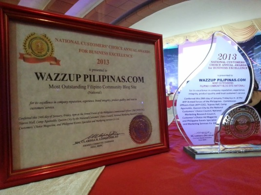 Wazzup Pilipinas Most Outstanding Filipino Community Blog Site Trophy and Certificate